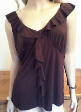 Brown Jersey Sleeveless TOP Size 20 Frill Trim Simply fab Casual Holiday New Be