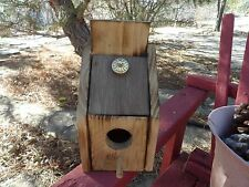 """Handmade Wood Birdhouse W/Cleanout New Made In U.S.A. 8"""" Tall"""