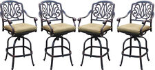 Patio bar stool set of 4 Elisabeth cast aluminum Outdoor swivel Barstools Bronze