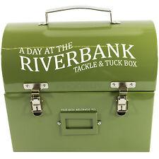Burgon & Ball Verde Ribera Tackle Pesca Cebo Lata de almacenamiento & Tuck Caja de almuerzo