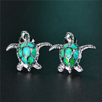 1 Pair Woman Fashion 925 Silver Turtle Green Fire Opal Charm Stud Earring NEW ~~