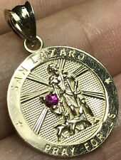 GOLD Saint LAZARO Pendant St San lazarus pray 10k yellow simulated ruby charm 1""