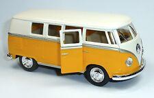 NEU: VW Bus Bulli T1 (1962) 1:32 gelb Modellauto ca. 13cm von Kinsmart Neuware!
