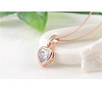 Collier Femme Pendentif Coeur Plaqué Or Rose et Cristal - Bijoux des Lys