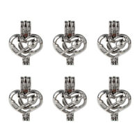 5x Silver Plated Rose Heart Pearl Cage Locket Pendant DIY Essential Oil Diffuser