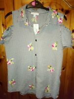 Bluezoo black/white gingham Girls summer shirt blouse/top age 11years