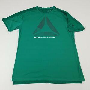 Rebook Activchill Green Mens Medium Short Sleeve Shirt Top Activewear