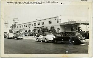 LOS ANGELES INT'L AIRPORT antique picture postcard, rppc LAX, TWA & UNITED. CA