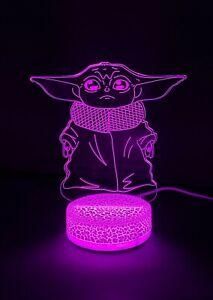 Baby Yoda Grogu 3D Night Light Color Changing Illusion Lamp Fan Birthday Gifts