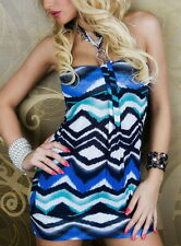 SeXy MiSS Damen Long Top Glamour Neck Schnalle Bandeau 34/36/38 wellen blau bunt