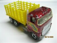 1986 Hot Wheels Ford Stake Bed Truck Moving Parts Blackwall Dump Red Yellow 164