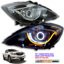 Face Lift New Mazda BT50 Head Lamp Light Led Projector Black Ute Oem + Xenon Set