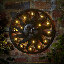 LED Sun Metal Outdoor Metal Wall Art Light Timer Multi Function