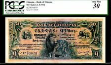 """ETHIOPIA P9 50 THALERS 1932 PCGS 30 """"LION NOTE"""" LOOKS ALMOST UNCIRCULATED!"""