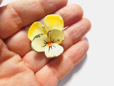 Vans Authentics 3720 Yellow Enamel Gold Tone Metal Pansy Flower Brooch Vintage