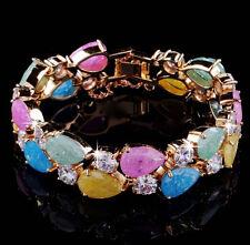 "14k Rose Gold GF Bracelet made w/ Auth Swarovski Crystal Multicolor Stone 6.5"""
