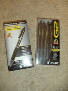 12 Pilot G-2 Retractable Gel ROLLER Pens bold 1.0mm Point  BLACK INK 31256 31590