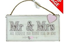 Mr & Mrs Wedding Love Story Wooden Plaque Sign Decoration - All because  WG749