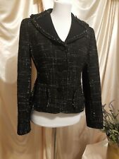 Ann Taylor Black White Tweed Frayed Edges Womens Lined Suit Jacket Coat Sz 6