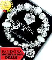 Authentic Pandora Bracelet Silver Crystal Best Mom Heart with European Charms