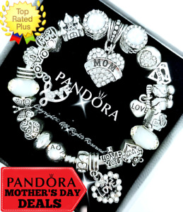 Authentic Pandora Bracelet Silver Crystal Mom Heart with European Charms New Box