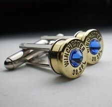 38 Special Winchester Brass Bullet Cufflinks Choice of Birthstone Swarovski