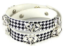 Houndstooth Wrap Around Leather Bracelet With Silver Toned Elephant Studs
