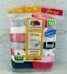 Fruit of the Loom Girls 14-Pack Classic Briefs Size 10 Underwear Tagless Cotton