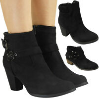 Womens Ladies Faux Suede Buckle Mid High Block Heel Work Ankle Boots Shoes Size