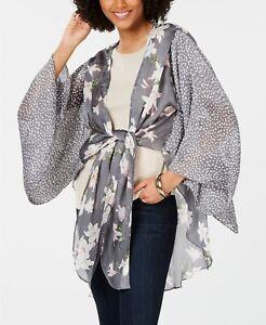 CEJON lilies floral print women's kimono cover-up GRAY -One size