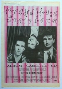 CROWDED HOUSE 1988 POSTER ADVERT TEMPLE OF LOW MEN