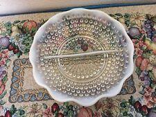 Vintage Fenton Moonshine Hobnail Divided Bowl