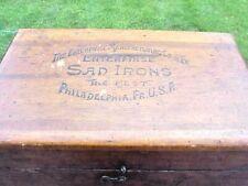 Antique Enterprise Mfg Co. Sad Irons Wood Box Philadelphia, PA