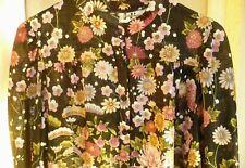 Vtg 70S M Marty Gutmacker Black Poly Pink Floral Bell Sleeve Border Blouse Women