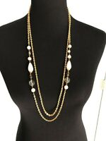 Gold Tone Necklace Double Strand Different Sizes Faux Pearls Glass Beads
