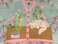 Storybook Knits Light Blue Cat Cardigan Sweater Womens 1X Flowers Easter HSN
