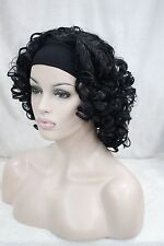 Beautiful cute 3/4 wig with headband black curly women' short synthetic half wig