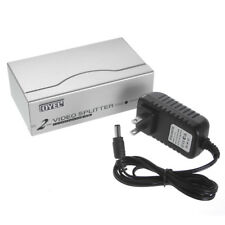 1 PC to 2 Monitor 2 Port VGA SVGA Video LCD Splitter Box Adapter w/ Power Cable