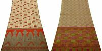 Women Sari Set of 2 Vintage Silk Blend Beige DIY Printed Fabric Saree COMGSI-131