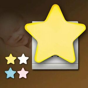 2stk LED Nachtlicht Stern Steckdose Kinder Zimmer Beleuchtung Dämmerungs Sensor