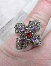 Garnet, Purple Topaz with Marcasites Sterling Silver Ring ~ 9.7grams ~ 20-G9473