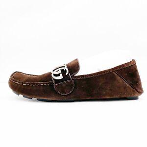 Gucci Men's Noel Drivers Queen Cocoa Brown Suede loafers 473768