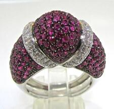Valente Milano Italy 18 KT White Gold Pink Sapphires & Diamonds Ring size 7.25
