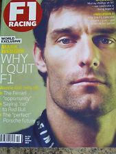 F1 RACING ITV OCT 2013 #212 MARK WEBBER FERRARI OPPORTUNITY MURRAY WALKER AT 90