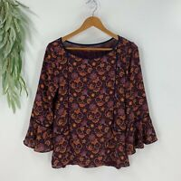 Ann Taylor Loft Womens Pullover Blouse Size XS Burgundy Floral Bell Sleeve Top