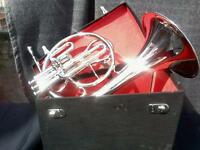 MELLOPHONE OF PURE BRASS IN  SILVER POLISH + EXTRA SLIDE+CASE+ MOUTHPC+FREE SHIP