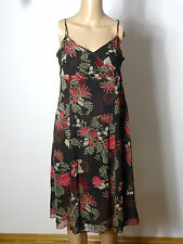 TOM TAILOR Kleid Gr. 36 braun-beige-rot Empire Blumen Chiffon Träger-Kleid