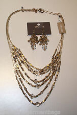 Chico's Sold Out Gavia Gold Multi Strand Ilusion Neckace & Cluster Earrings Set