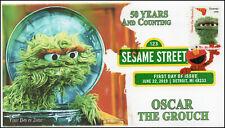 19-160, 2019, Sesame Street, Digital Color Postmark, FDC, Oscar the Grouch, 50 Y