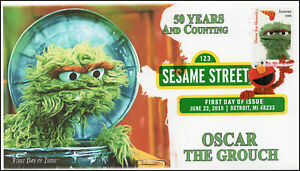 19-160, 2019, Sesame Street, Digital Color Postmark, FDC, Oscar the Grouch, 50 Y
